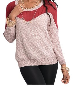 CaliJoules Sweetheart Mesh Trendy Fashion Cold Sweater