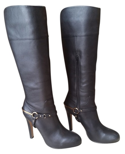 Isola Equestrian Knee Leather Gold Hardware Riding Black Boots