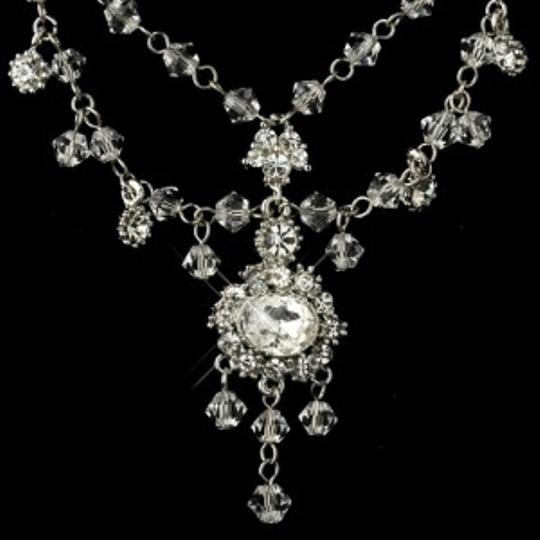 Elegance by Carbonneau Silver Crystal Necklace Chandelier Earrings Jewelry Set