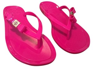 Tory Burch Bows Flip Flops Jelly Summer Casual Cute Monogram Fushia Sandals