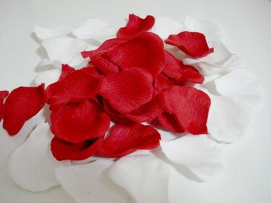 Red and White 1000x Rose Petal Love Party Flower Girl Basket