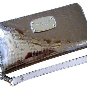 Michael Kors Michael Kors Large Multifunction Phone Wristlet Wallet Mirror Metallic Nickel NWT