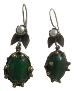 Unique silver and bronze earrings with faux pear and emerald