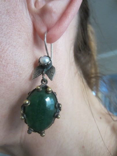 Other Unique silver and bronze earrings with faux pear and emerald