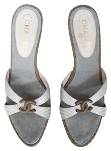 Chanel Pale blue and taupe Wedges