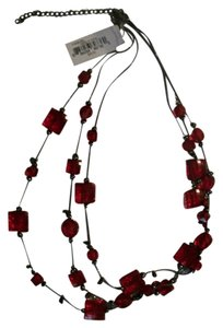 Mix It Dazzling Red Square & Round Beads Adjustable Necklace By Mix It