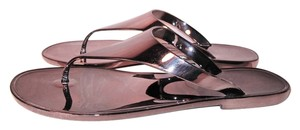 BCBGMAXAZRIA Beach Pool Casual Summer Gunmetal Gray Metallic Sandals
