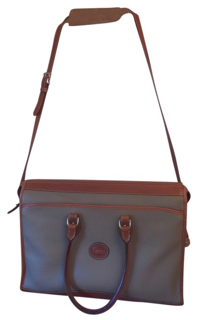 Dooney & Bourke Taupe with Tan Trim Pebbled Leather Messenger Bag Dooney & Bourke Taupe with Tan Trim Pebbled Leather Messenger Bag Image 1