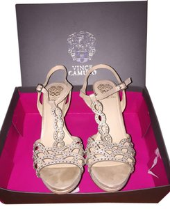 Vince Camuto Sparkly High Heel Crystal Detail Wear Strappy Sandal Gold Light Gold Formal