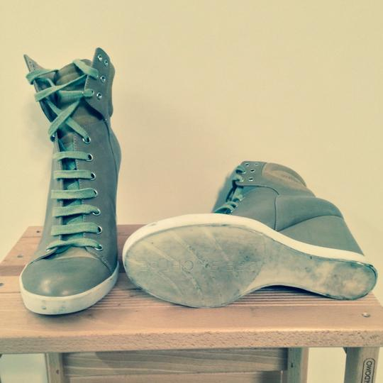 See by Chloé Lace-up Lace Up High Top Wedge Sneaker Khaki Athletic