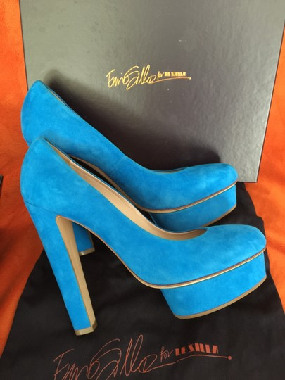 Le Silla Pumps Made In Italy Designer Louboutin Versace Gucci Lv Leather Pumps Party Suede New Turquoise Platforms