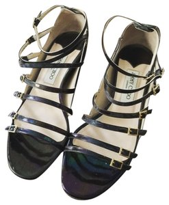 Jimmy Choo Petrol Oil Patent Leather Black Wedges