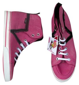 Vans Velcro High Top pink, white, black Athletic