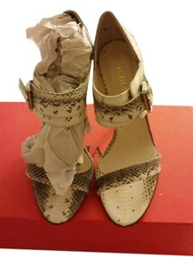 Claudia Ciuti White Snake Pumps