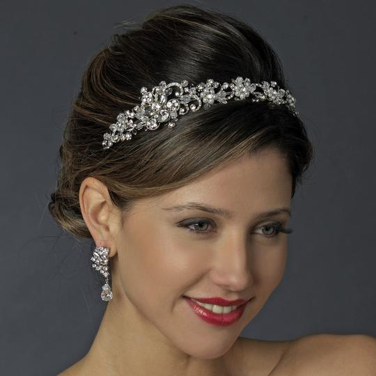 Elegance by Carbonneau Silver/Silver White Pearl and Crystal Headband Tiara