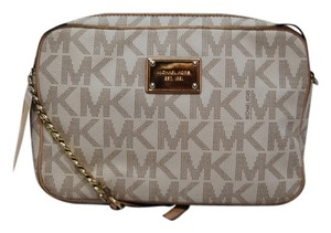 Michael Kors Leather Chains Gold Hardware Monogrammed Lined Cross Body Bag
