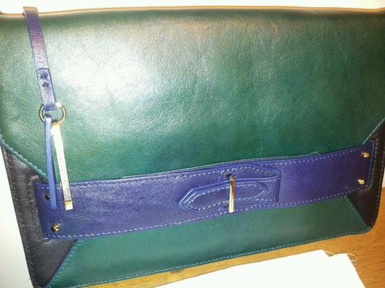 Derek Lam Leather Blue and Green Clutch