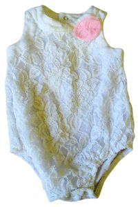 Baby Essentials Top White With Pink Flower
