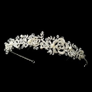 Elegance By Carbonneau Freshwater Pearl Crystal Wedding Headband
