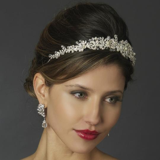 Elegance by Carbonneau Silver/Light Ivory Freshwater Pearl Crystal Headband Hair Accessory