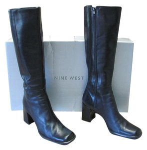 Nine West Very Good Condition Leather Size 8.00 M Black Boots