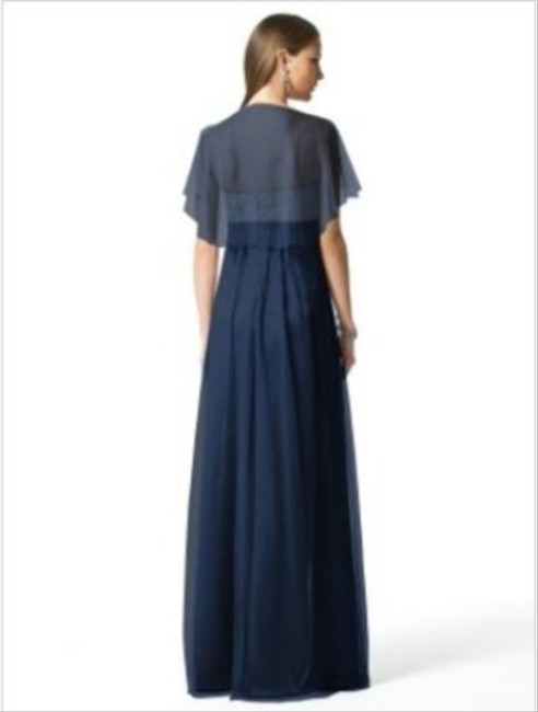 Dessy Full Length Strapless Capelet Dress