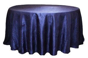 Three Round Taffeta Tablecloth In Navy Blue