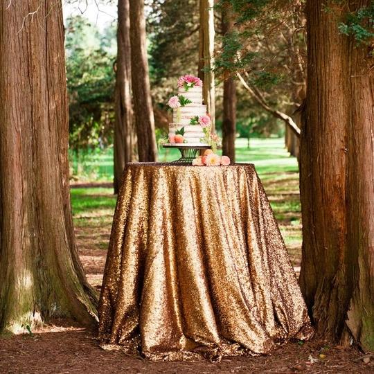 Gold 120' Round Sequin Bling Glam Sparkle Tablecloth