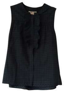 Anthropologie Top Green Plaid
