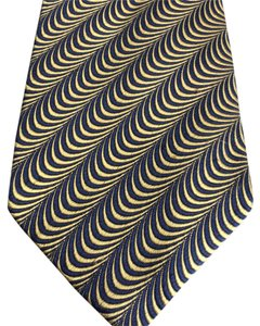 Ike Behar Stunning Silk Tie in Gold and Dark Navy or Black by Ike Behar