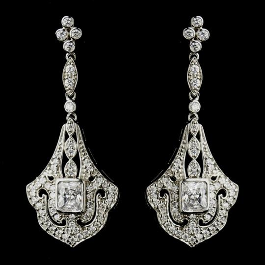 Elegance by Carbonneau Silver/Silver Cz Vintage Look Earrings