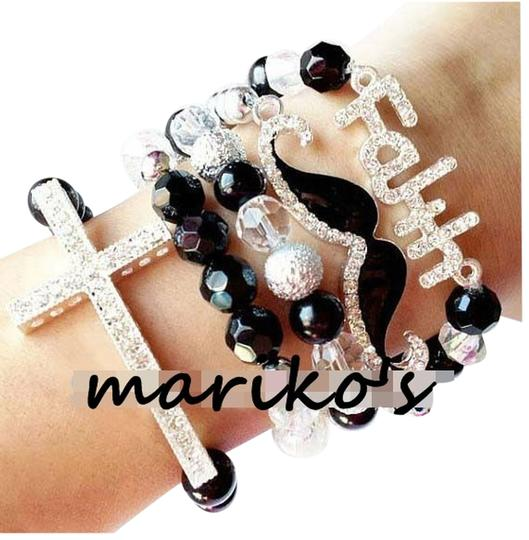 Other Faith mustache moustache cross arm candy bracelets BLACK