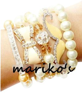 Other Bow mustache moustache pearl arm candy bracelet set