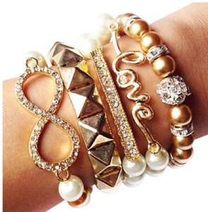 Infinity studded love studs arm candy bracelets