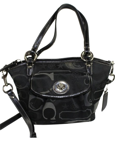 Preload https://item2.tradesy.com/images/handbag-style-f14949-black-signature-sateen-fabric-with-leather-trim-and-strap-cross-body-bag-5499421-0-0.jpg?width=440&height=440