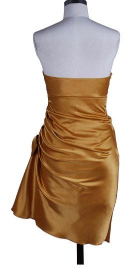 Gold Satin Polyester Strapless Bunched Sexy Bridesmaid/Mob Dress Size 6 (S)