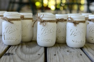 Ball Antique White 48 Count Rustic Mason Jars Centerpiece