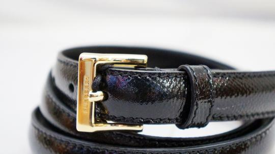 Burberry NEW BURBERRY BLACK PATENT LEATHER THIN SKINNY BELT GOLD BUCKLE UNISEX S 35