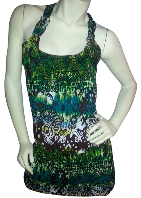 Item - Green Teal Brown Yellow On White Tunic Length Batik Tee Shirt Size 8 (M)