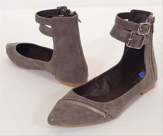 MIA Carrina Womens Ankle Zip Buckle Strap Pointed Ballet Gray Flats
