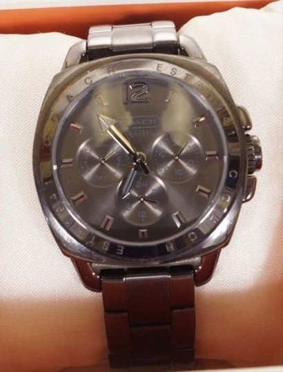 Coach Coach Womens Stainless Gunmetal Steel Boyfriend Chrono Bracelet Watch 14501467