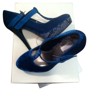 Rachel Roy Heels Mary Jane Heels Velvet Heels blue Pumps