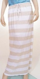 C&C California Womens Oatmeal Stripe Lined Long Maxi Skirt White