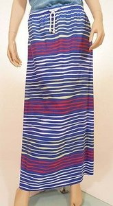Tommy Hilfiger Womens Cyber Blue Green Red Striped Long Maxi Skirt Multi-Color