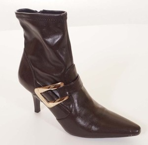 BCBGMAXAZRIA Bcbg Girls Sophie Womens Gold Buckle Heels Ankle Brown Boots