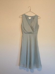 J.Crew Dusty Shale Evie Silk Chiffon Knee Length Modest Bridesmaid/Mob Dress Size 0 (XS)