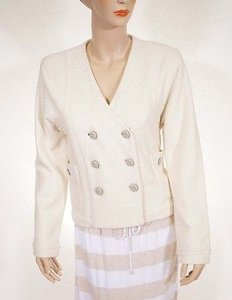 Marc by Marc Jacobs Marc Jacobs Womens Dusty White Hawthorne Double Breasted Crop Wool Jacket