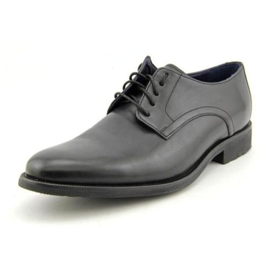 Cole Haan Stanton Plain Ii Mens Black Leather Waterproof Oxford Dress Shoes