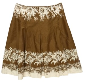 Ann Taylor Loft Pleated Floral Cotton Skirt brown