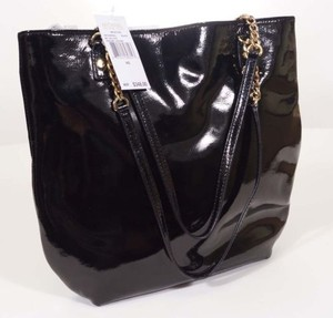 Michael Kors 30f3gwss2l Womens Patent Leather Tate Tote Satchel in Black